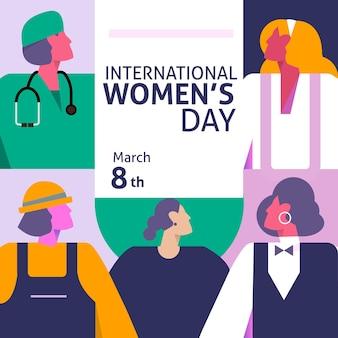 Ilustración degradada del día internacional de la mujer con profesiones femeninas