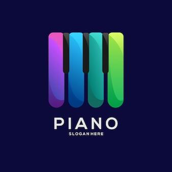 Ilustración de degradado colorido de logo de piano