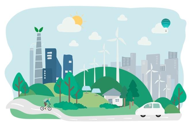 Ilustración del avatar humano con el medio ambiente