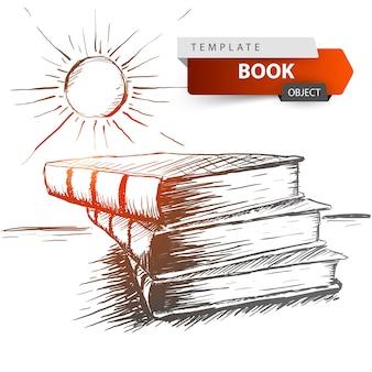 Ilustración del bosquejo del libro y del sol.