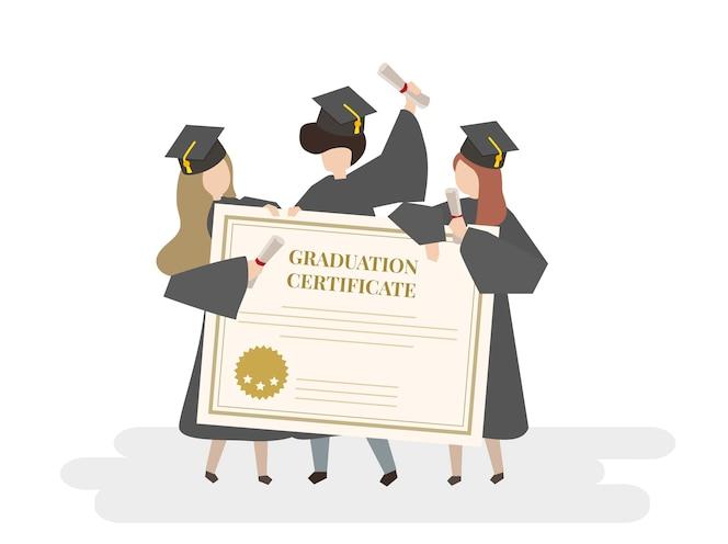 Ilustración del certificado de graduación
