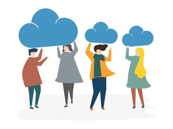 Ilustración del concepto de conexión de nube de personas avatar
