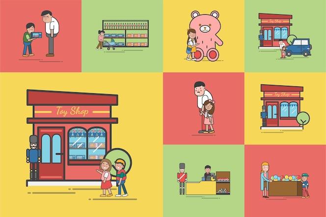 Ilustración del conjunto de vectores de la tienda de juguetes