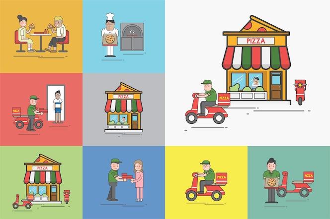 Ilustración del conjunto de vectores de pizza