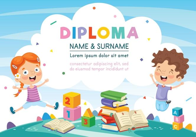 Ilustración del diploma de niños preescolares