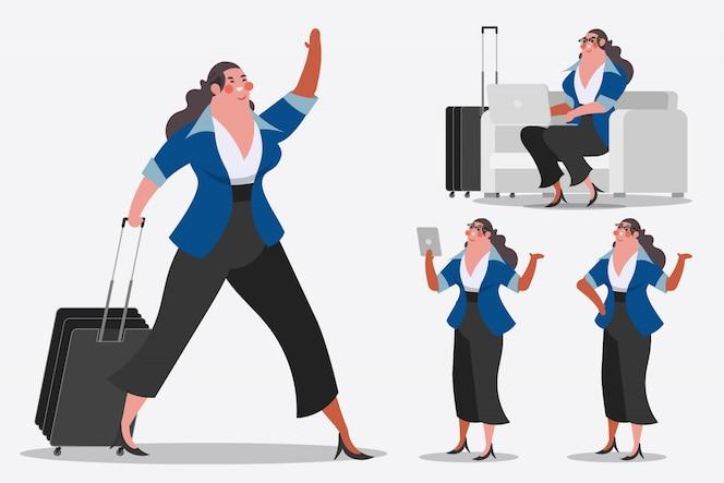 Ilustración del diseño del personaje de dibujos animados. empresaria mostrando equipaje, saludos y computadoras portátiles de la computadora.