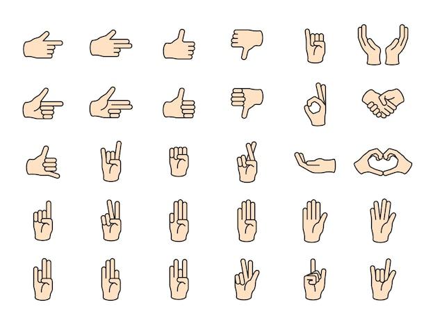 Ilustración del gesto de las manos en línea delgada