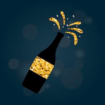 Ilustración del icono de botella de champagne