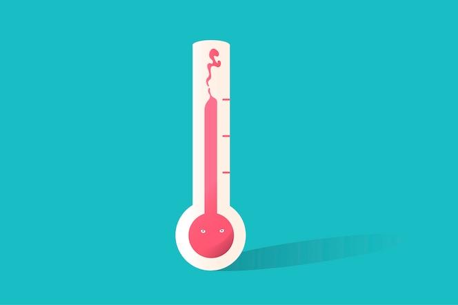 Ilustración del icono del termómetro en fondo azul