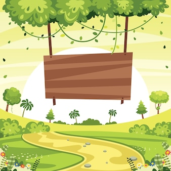 Ilustración del letrero de madera y del paisaje verde