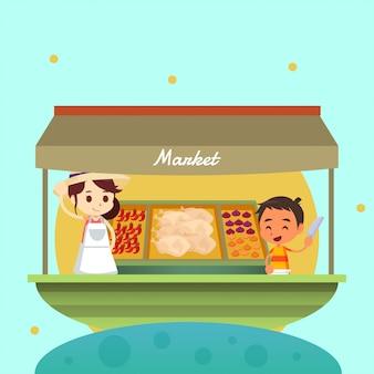 Ilustración del mercado tradicional