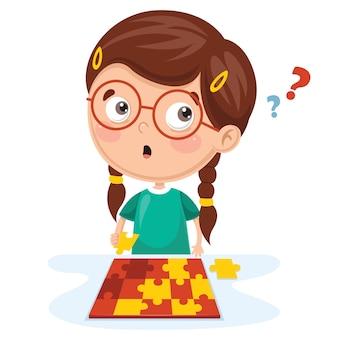 Ilustración del niño jugando al rompecabezas