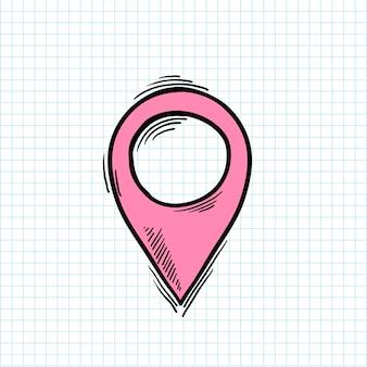 Ilustración del símbolo de ubicación aislado en el fondo