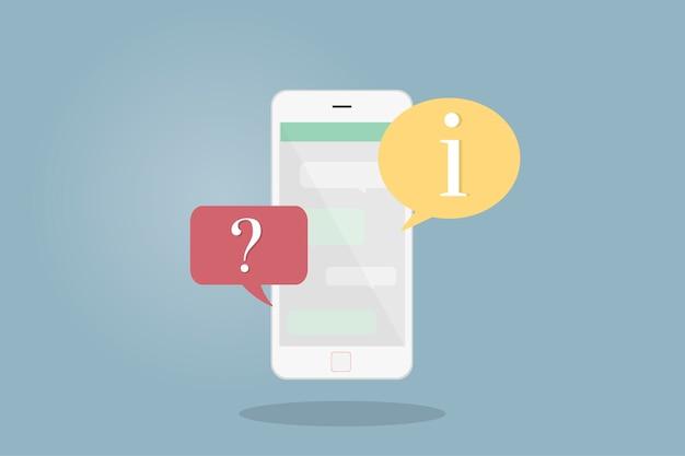 Ilustración del teléfono móvil con burbujas de discurso