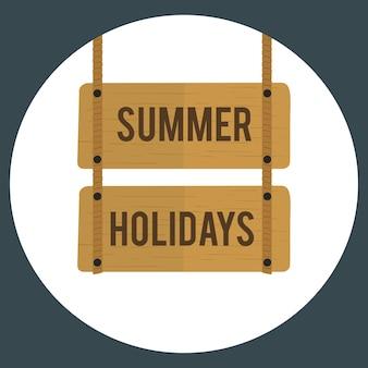Ilustración del vector de signo de vacaciones de verano