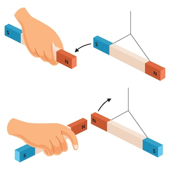 Ilustración del vector del imán de la mano