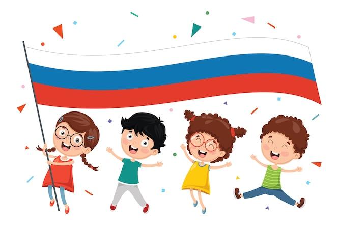 Ilustración del vector del niño que sostiene la bandera