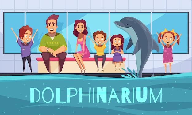 Ilustración del delfinario con familias viendo un espectáculo