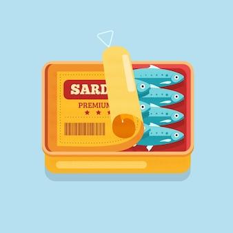 Ilustración de deliciosa sardina de diseño plano