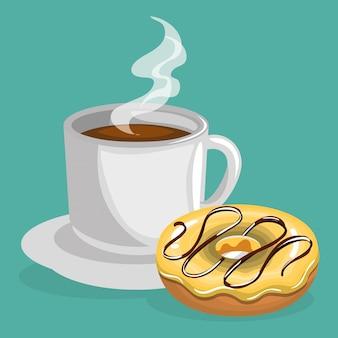 Ilustración de deliciosa taza de café y donas