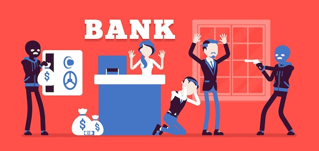 Ilustración de delincuentes enmascarados de robo de banco