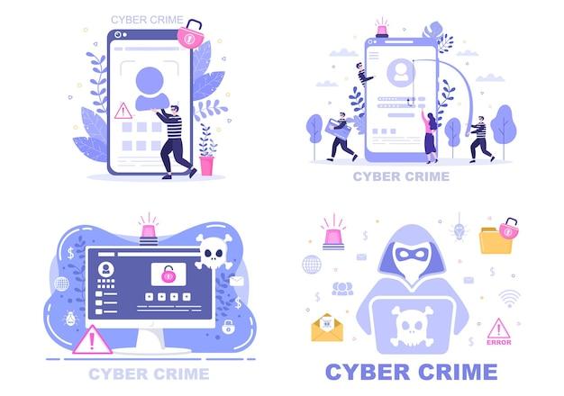 Ilustración de delito cibernético phishing robo de datos digitales, sistema de dispositivo, contraseña y documento bancario de la computadora