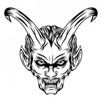 Ilustración de demonios con cuernos largos y abre la boca.