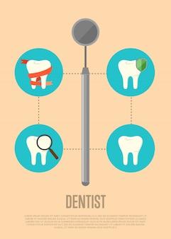 Ilustración de dentista con espejo dental