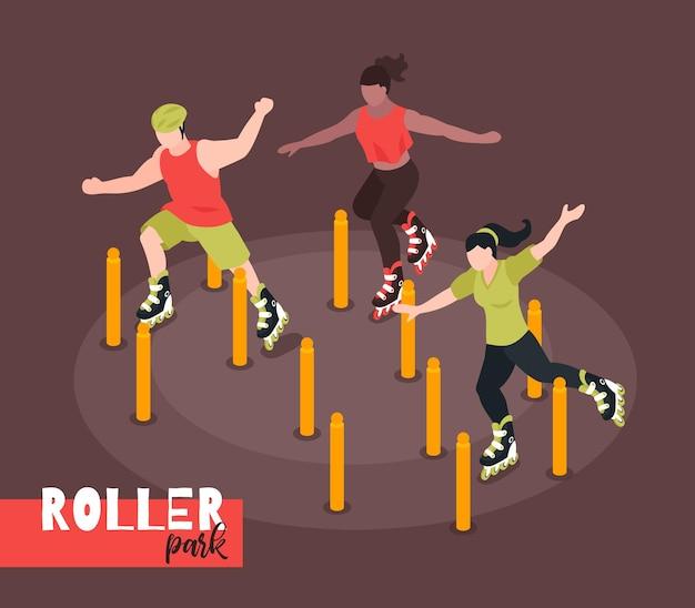 Ilustración de deporte callejero extremo con adolescentes patinando en el campo de deportes del parque de la ciudad