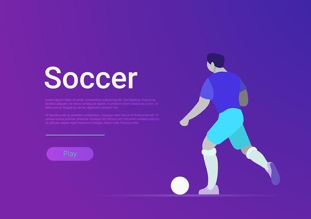 Ilustración de deporte de interfaz de sitio de jugador de fútbol jugar pelota