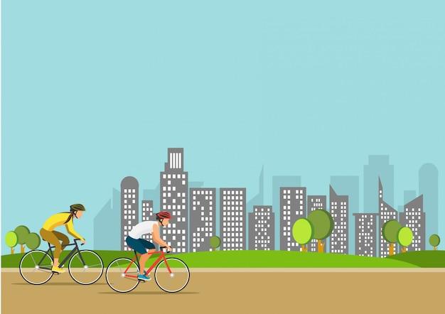 Ilustración de deporte saludable verano ciclismo en el parque. las personas activas andan en bicicleta. concepto de estilo de vida deportivo.