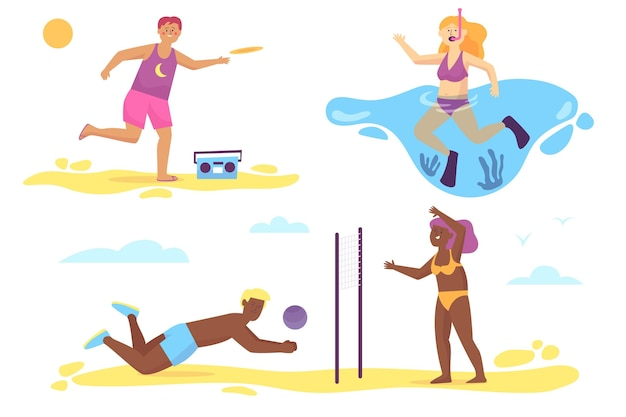 Ilustración de deportes de verano