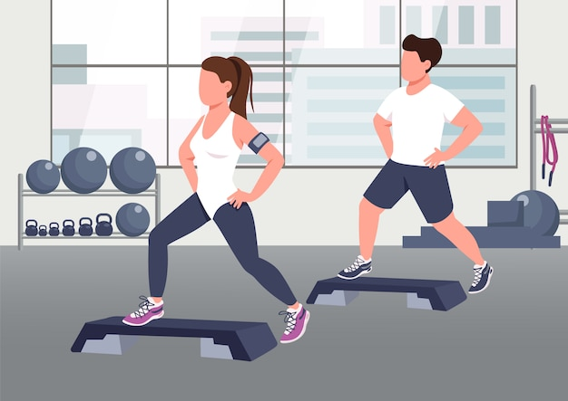Ilustración. el deportista y el instructor de aeróbicos femenino personajes de dibujos animados en 2d con gimnasio en el fondo.
