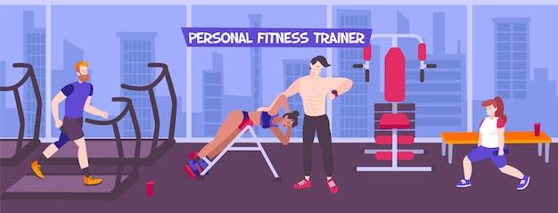 Ilustración deportiva de entrenador personal con vista interior de la sala de fitness con ventanas panorámicas, paisaje urbano y personas