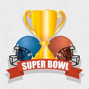 Ilustración deportiva superbowl con trofeo y cascos