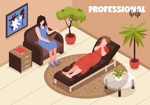 Ilustración de depresión y ayuda profesional con símbolos de terapia y ayuda