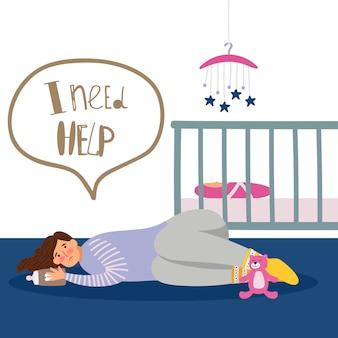 Ilustración de depresión posnatal