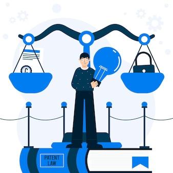 Ilustración de derechos de autor de la ley de patentes