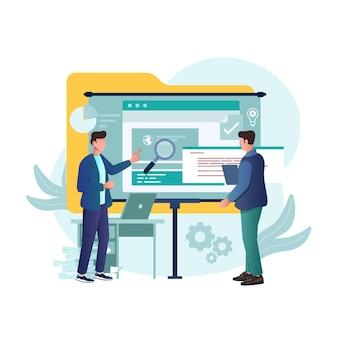Ilustración desarrollador trabajando programación ideas para sitios web