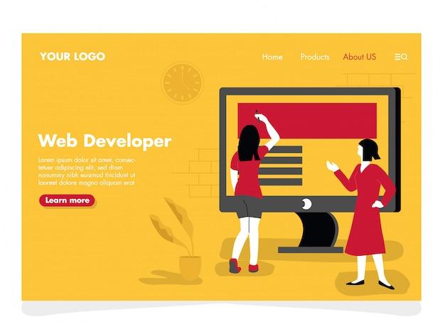 Ilustración de desarrollador web para landing page