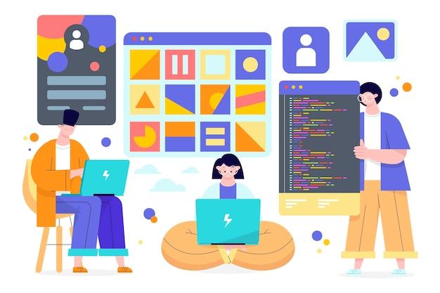 Ilustración de desarrolladores web dibujados a mano plana