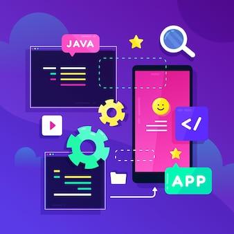 Ilustración de desarrollo de aplicaciones
