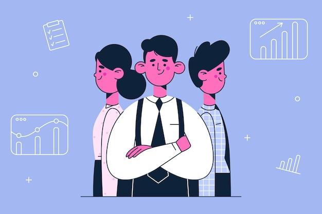 Ilustración de desarrollo de negocios de coworking de trabajo en equipo