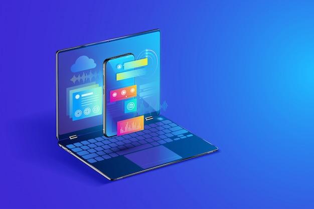 Ilustración de desarrollo de software y aplicaciones móviles
