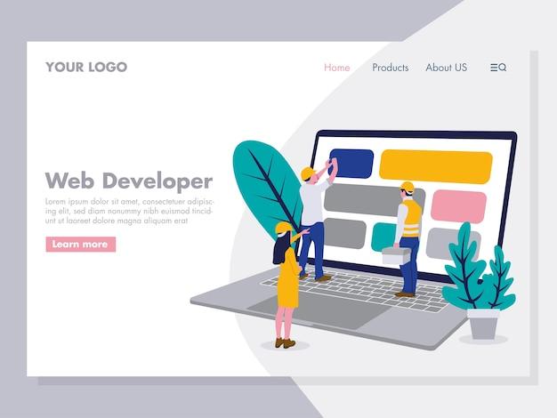 Ilustración de desarrollo web para la página de inicio