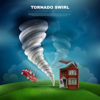 Ilustración del desastre natural del tornado
