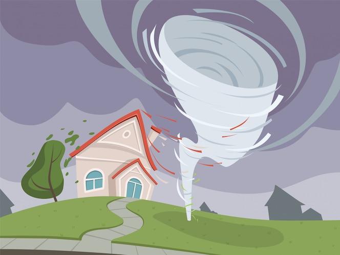 Ilustración de desastre de naturaleza. tiempo ambiental daño dramático apocalipsis vector de dibujos animados