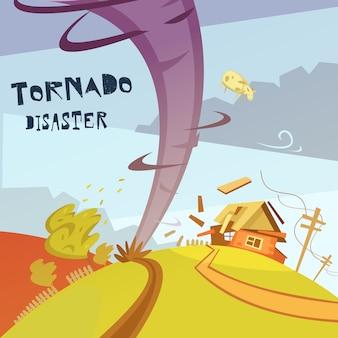 Ilustración del desastre del tornado
