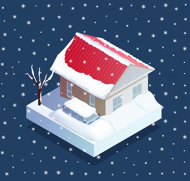 Ilustración de desastres naturales de nieve