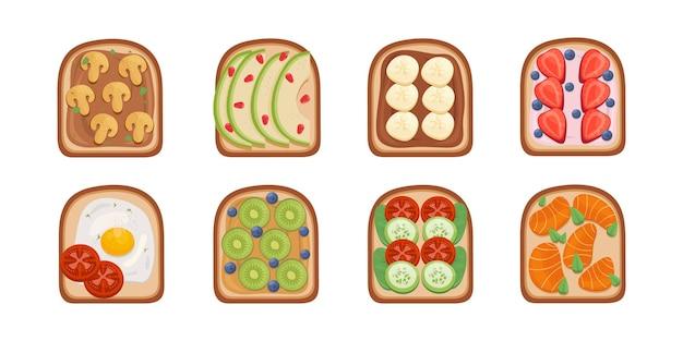 Ilustración de desayuno de tostadas. colección de sándwiches tostados tostadas con diferentes ingredientes vista superior.